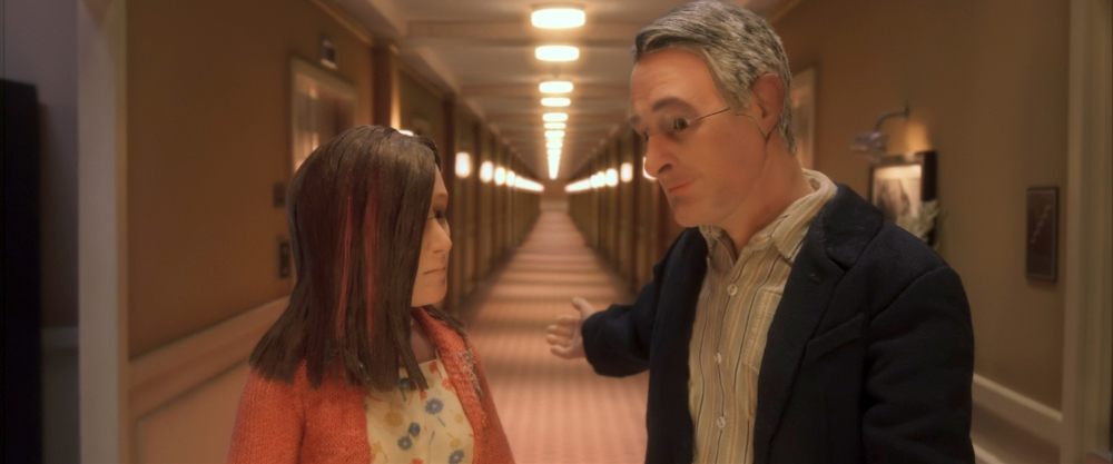 (L-R) Jennifer Jason Leigh voices Lisa Hesselman and David Thewlis voices Michael Stone in the animated stop-motion film, ANOMALISA, by Paramount Pictures